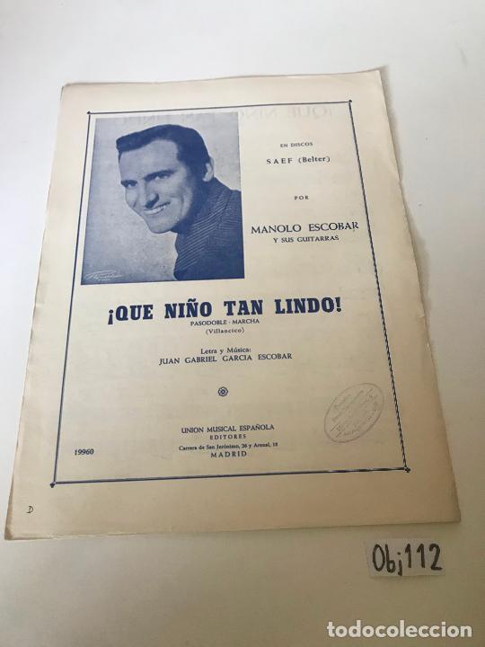 QUE NIÑO TAN LINDO - MANOLO ESCOBAR (Música - Partituras Musicales Antiguas)