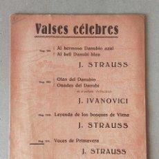 Partituras musicales: PARTITURA - VALSES CELEBRES: VOCES DE PRIMAVERA, JOHANN STRAUSS - EDITORIAL BOILEAU. Lote 227983280