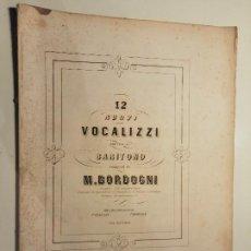 Partituras musicales: 12 NUOVI VOCALIZZI PER VOCE DI BARITONO. M.BORDOGNI. Nº 6248 LIB.I, Nº 6249 LIB.II. F.LUCCA. CA 1850. Lote 230511200