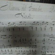 Partituras musicales: MANUSCRITO VERDI PARTITURA DE 1900 MISERERE DEL TROVADOR LETRA Y MUSICA. Lote 233057395