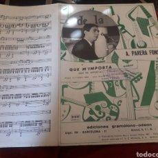 Partituras musicales: ANTIGUA PARTITURA, QUE M, IMPORTA POR A, PARRA FONS DE 1967. Lote 235282875