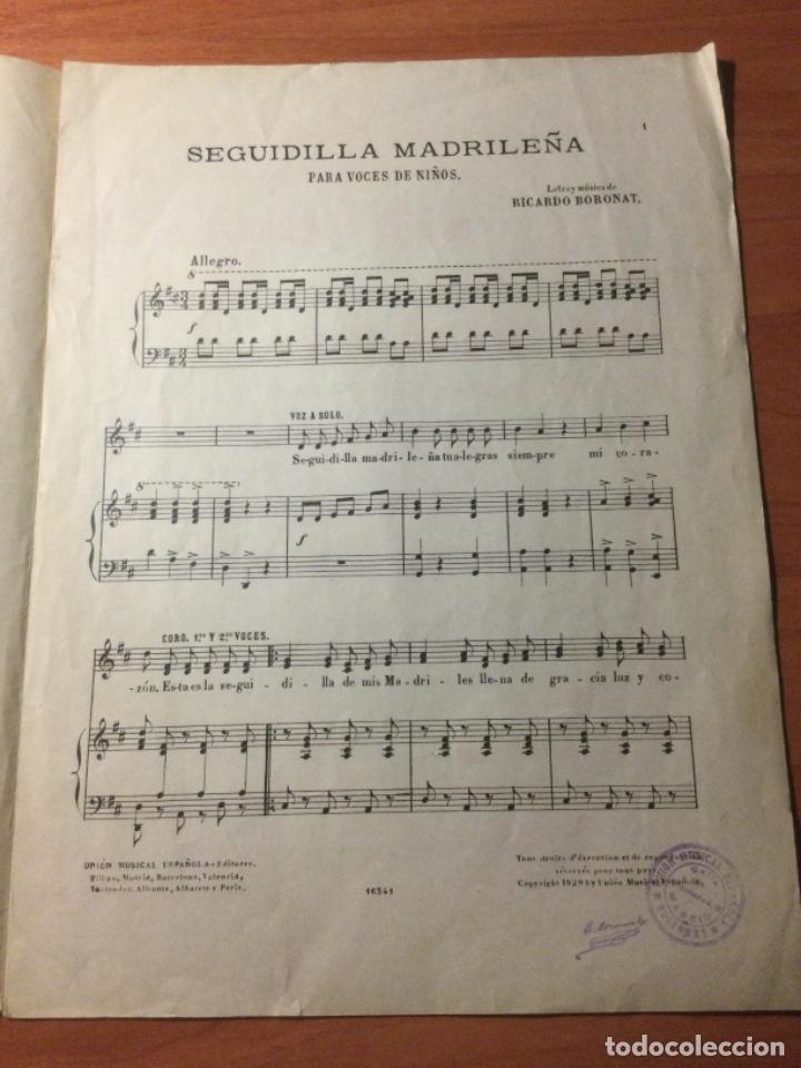 Partituras musicales: Partitura Seguidilla Madrileña Para Voces de Niños. Ricardo Boronat - Foto 2 - 235331105