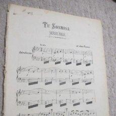Partituras musicales: TU SONRISA, MAZURKA, POR JUAN PALACIOS. Lote 239718995
