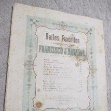 Partituras musicales: MARÍA, MAZURKA, BAILES FAVORITOS, POR FRANCISCO J. NAVARRO, MÉXICO. Lote 239754050