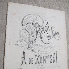 Partituras musicales: LE REVEIL DU LION, CAPRICE HÉROIQUE POUR LE PIANO POR A. DE KONTSKI. Lote 239759060