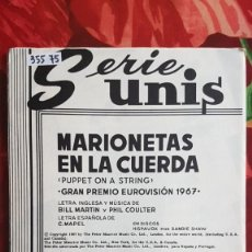 Partitions Musicales: PARTITURA VARIOS INSTRUMENTOS. MARIONETAS EN LA CUERDA EUROVISIÓN 67 SANDIE SHAW. THE BUCKINGHAMS. Lote 241101605
