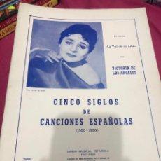Partituras musicais: LIBRO PARTITURAS PARTITURA CINCO SIGLOS DE CANCIONES ESPAÑOLAS VICTORIA DE LOS ÁNGELES 1300 1800 LP. Lote 243307415