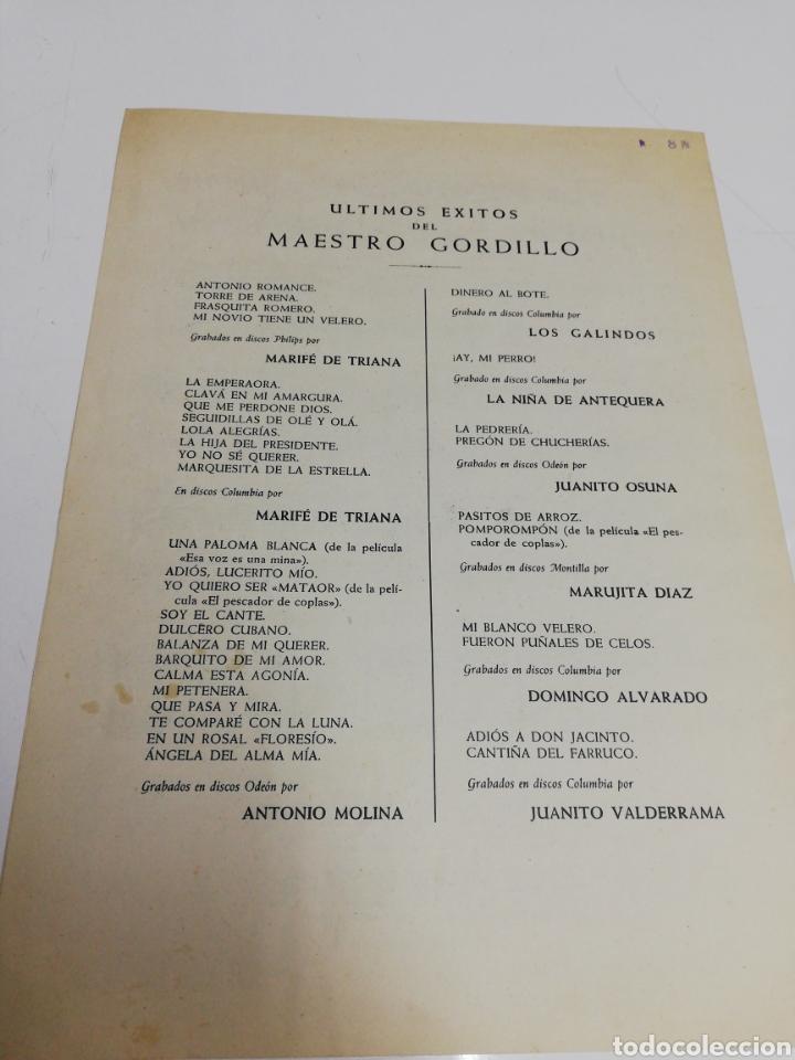 Partituras musicales: Antigua partitura Que me perdone Dios. Marife de Triana. Año 1957. - Foto 4 - 243990940