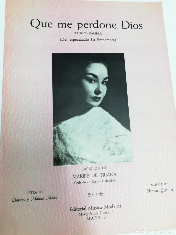ANTIGUA PARTITURA QUE ME PERDONE DIOS. MARIFE DE TRIANA. AÑO 1957. (Música - Partituras Musicales Antiguas)