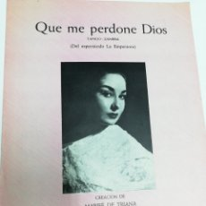 Partituras musicales: ANTIGUA PARTITURA QUE ME PERDONE DIOS. MARIFE DE TRIANA. AÑO 1957.. Lote 243990940