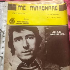 Partituras musicales: PARTITURA PARTITURAS CANTANTE ESPAÑOL JUAN MANUEL ESCAMILLA FESTIVAL DE MENORCA LP CD SINGLE. Lote 244466975