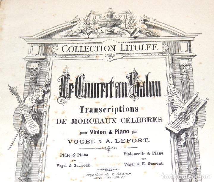 Partituras musicales: LE CONCERT AU SALON - PARTITURAS PARA VIOLÍN Y PIANO ENCUADERNADAS - FINAL SXIX, PRINCIPIOS SXX. - Foto 3 - 244664200