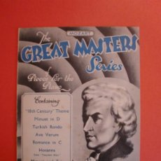 Partituras musicales: MOZART THE GREAT MASTERS SERIES OF PIECES FOR THE PIANO 1942. Lote 244761000