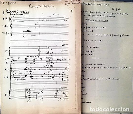 J. PEIXINHO : CORAÇAO HABITADO (POEMAS DE EUGÉNIO DE ANDRADE) MAFRA, LISBOA, 1966. PARTITURA MANUSCR (Música - Partituras Musicales Antiguas)