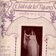 Partituras musicales: CLIFTON WORSLEY : EL VALS DE LOS PÁJAROS - CANCIÓN (UNIÓN MUSICAL, S.F.). Lote 244889930