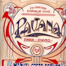 Partituras musicales: M. COSTA DEQUIDT : PAVANA PARA PIANO (JOAQUIN MORA, S. F.). Lote 245943860