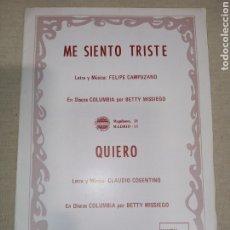 Partituras musicales: DISCOS COLUMBIA SERIE COMPATIBLE CAMPUZANO COSENTINO BETTY MISSIEGO. Lote 261519320
