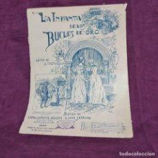 Partiture musicali: ANTIGUA PUBLICACIÓN CON PARTITURAS, LA INFANTA DE LOS DULCES DE ORO, SINESIO DELGADO, 1906. Lote 293358858