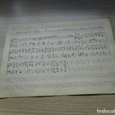 Partituras musicais: ANTIGUA PARTITURA MANUSCRITA.LETRA MUSICA DAMIA VIVES.RECTOR. A LA CIUDAD DE CALELLA.. Lote 293825088