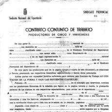 Revistas de música: ANTIGUO CONTRATO CONJUNTO DE TRABAJO-PRODUCTORES DE CIRCO Y VARIEDADES -SINDICATO NACIONAL DEL ESPEC. Lote 11277987