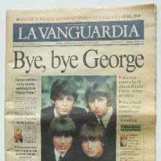 Revistas de música: BEATLES LA VANGUARDIA MUERTE DE GEORGE HARRISON. Lote 26466530