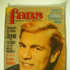 Revistas de música: REVISTA FANS Nº 39 ADAM FAITH - ELVIS PRESLEY - BEATLES - SANREMO DONATELLA MORETTI BRUNO LOMAS. Lote 25035406