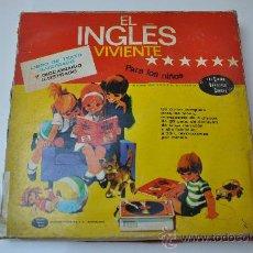 Revistas de música: EL INGLES VIVIENTE PARA LOS NIÑOS CAJA 4LP LIBRO DE TEXTO Y DICCIONARIO ILUSTRADOS . Lote 29498355