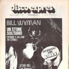 Revistas de música: DISCO EXPRES Nº 374 (07-05-76) - BILL WYMAN / THE KINKS / CAT STEVENS - EX. Lote 30970618