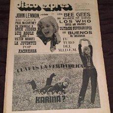 Revistas de música: DISCO EXPRES Nº58 ORIGINAL 1970 KARINA LENNON JAGGER BEE GEES WHO COLECCION. Lote 36468659
