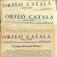 Revistas de música: ORFEÓ CATALÀ - NOTICIARI - DIEZ NÚMEROS DESDE EL Nº 1 (1935/1936). Lote 37968462
