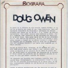 Revistas de música: DOUG OWEN - HOJILLAS PROMOCIONALES DISCOGRAFICAS. Lote 38279681