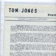 Revistas de música: TOM JONES - HOJILLAS PROMOCIONALES DISCOGRAFICAS. Lote 38281237