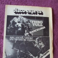 Revistas de música: DISCO EXPRES Nº 296 KEVIN COYNE JETHRO TULL BRIAN AUGER HERBIE MANN ZAPPA. Lote 40877499