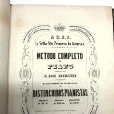 Revistas de música: MÉTODO COMPLETO DE PIANO (MÚSICA NOTADA) COMPUESTO POR JOSÉ ARANGUREN, (1855) 1ª EDICIÓN 132 PAGINAS. Lote 42247212