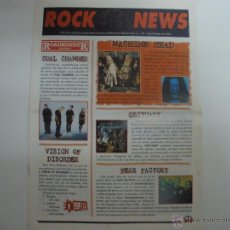 Revistas de música: ROCK NEWS Nº 1 ABRIL MAYO 1997 FEAR FACTORY OBITUARY MACHINE HEAD. Lote 42482945