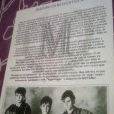 Revistas de música: MECANO - HOJA PROMOCIONAL PERDIDO EN MI HABITACIÓN 1981 - REPRODUCCION 2011. Lote 157028385