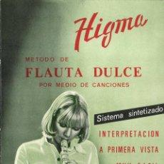 Revistas de música: MÉTODO DE FLAUTA DULCE POR MEDIO DE CANCIONES. HIGMA. 1975. Lote 50197918