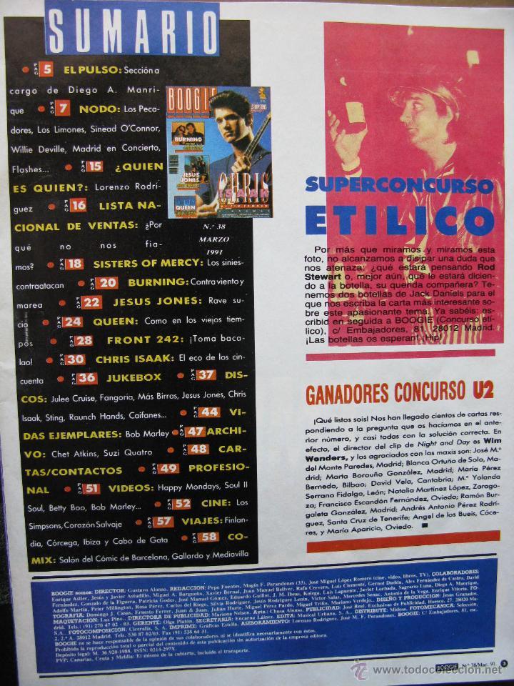 Revistas de música: BOOGIE NRO 38 1991. BURNING, CHRIS ISAAK, JESUS JONES, QUEEN, BOB MARLEY, FRONT 242, LOS LIMONES, .. - Foto 2 - 50949093