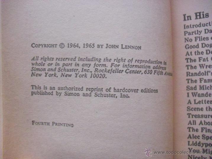 Revistas de música: John Lennon - Libro In his own write & Spaniard in the works (1965) - Beatles - Foto 3 - 51926777