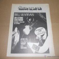 Revistas de música: DISCO EXPRES Nº 374 (REVISTA) BILL WYMAN, THE KINKS, JETHRO TULL, CAT STEVENS, URIAH HEEP, RICK WAKE. Lote 53189879