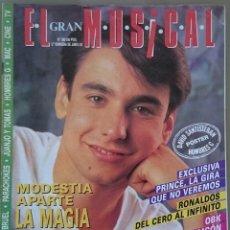 Revistas de música: EL GRAN MUSICAL Nº 366, JUNIO 1992. MODESTIA APARTE, OBK,PATRICK BRUEL, POSTER DAVID SANTISTEBAN. Lote 57506935