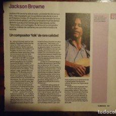 Revistas de música: HOJA REVISTA MUSICA MUSICAL - JACKSON BROWNE. Lote 64730863
