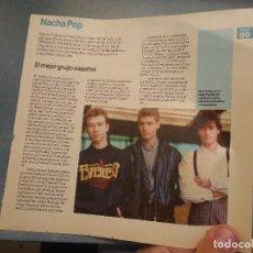 Revistas de música: HOJA REVISTA MUSICA MUSICAL - NACHA POP. Lote 64925479