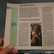 Revistas de música: HOJA REVISTA MUSICA MUSICAL - JOAN MANUEL SERRAT. Lote 64937199