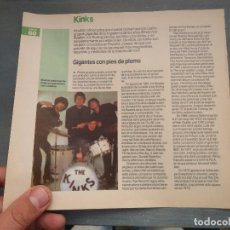 Revistas de música: HOJA REVISTA MUSICA MUSICAL - KINKS. Lote 64942195