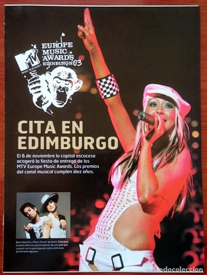 MTV EUROPE MUSIC AWARDS EDINBURGH 2003, 12 PÁG. CHRISTINA AGUILERA, BEYONCÉ, PINK, TIMBERLAKE (Música - Revistas, Manuales y Cursos)