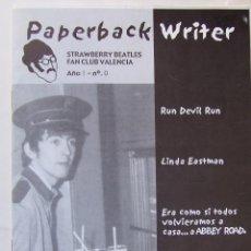 Revistas de música: REVISTA FANZINE PAPERBACK WRITER Nº 0 CLUB FANS DE LOS BEATLES DE VALENCIA. Lote 186387671
