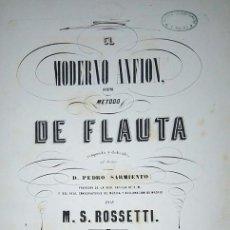 Revistas de música: EL MODERNO ANFION NUEVO METODO DE FLAUTA COMPUESTO POR M.S. ROSSETTI MADRID 1851. Lote 75923595