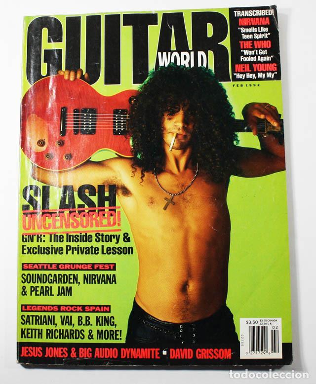 GUITAR WORLD Nº 2/1992, REPORTAJE 13 PAGINAS SLASH GUNS N'ROSES (Música - Revistas, Manuales y Cursos)