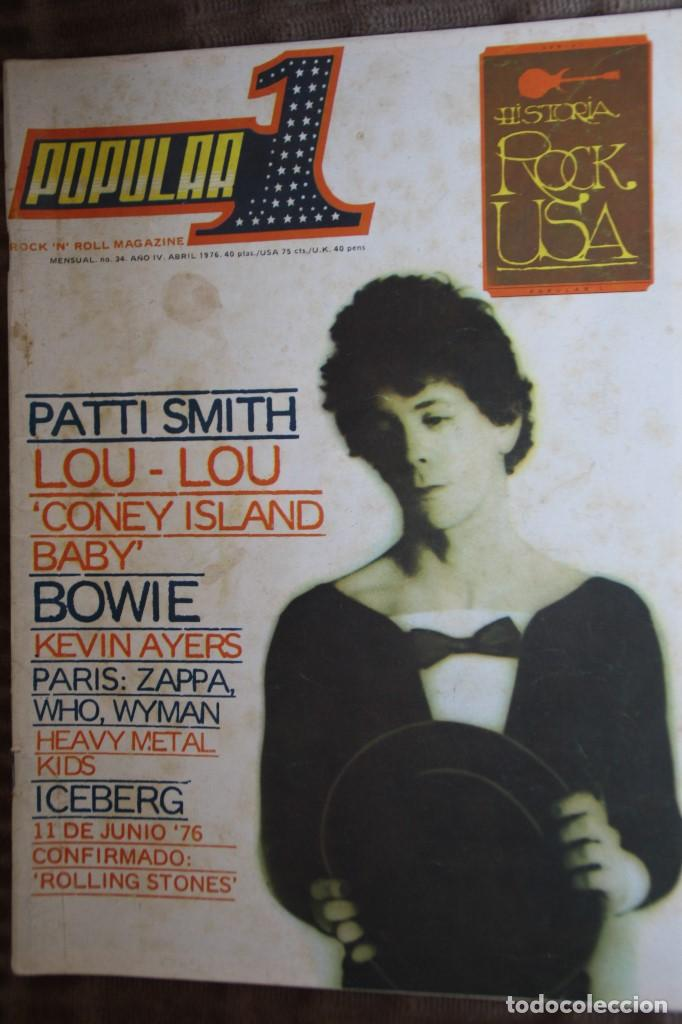 Revistas de música: POPULAR 1 Nº 34. PATTI SMITH, LOU REED, DAVID BOWIE, ZAPPA, THE WHO, ROLLING STONES, KEVIN AYERS - Foto 1 - 85868944